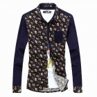 DE479 Fashionable Men's Casual Floral Corduroy Shirt - Purplish Blue (Size-L)