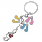 Fashionable Musical Notes Stainless Steel Keychain - Silver + Pink + Blue + Yellow + Red