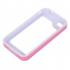 S-What Detachable Protective PC + Silicone Bumper Frame Case for Iphone 4 / 4s - Pink + White