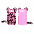 CM Leopard Print Pattern Protective Plastic Case w/ Tail for Samsung Galaxy S3 i9300 - Black + Pink