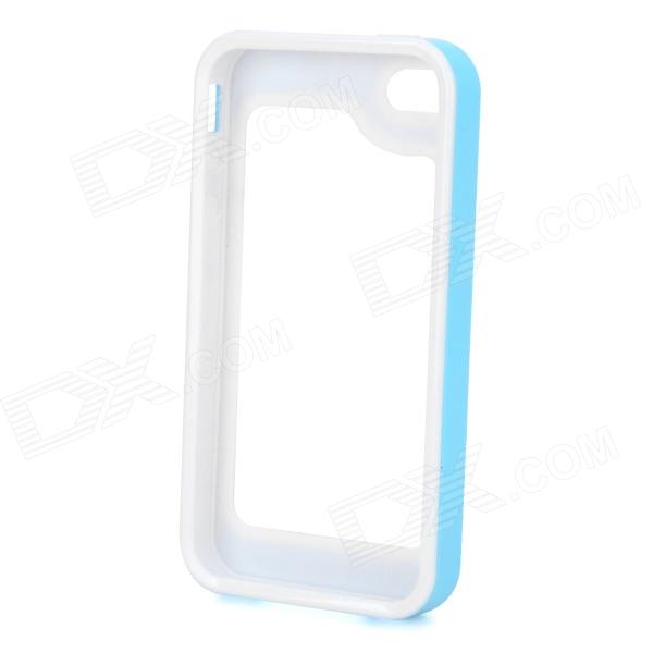S-What Silicone + PC Bumper Frame Case for Iphone 4 / 4s - White + Light Blue stylish bubble pattern protective silicone abs back case front frame case for iphone 4 4s