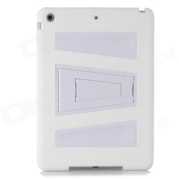 High Quality Protective Plastic Case w/ Stand for Ipad AIR - White anti shock protective silicone back case w stand for ipad air blue