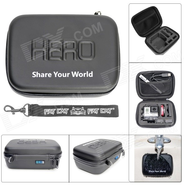 Fat Cat Waterproof PU Leather Extra Thick Anti-shock EVA Protective Case for Gopro Hero 4/3+/3/2/SJ4000
