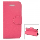 Lychee Grain Style Protective PU Leather Case w/ Card Holder Slots for Iphone 5 / 5s - Deep Pink