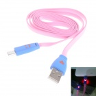 Smile Face Pattern Flat USB 2.0 Male to Micro USB Male Data Sync / Charging Cable - Pink + Blue