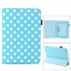 Polka Dot Style Protective PU Leather Case for Retina Ipad MINI - Sky Blue + White