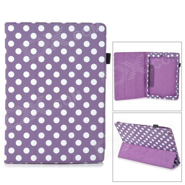 Polka Dot Style Protective PU Leather Case for Ipad AIR - Purple + White polka dot pattern protective swivel rotating pu leather case for ipad mini purple white