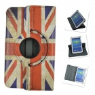 360 Degrees Rotation PU Leather Case Cover Stand for Samsung Galaxy Tab 3 P5200 - White + Blue