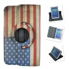 360 Degree Rotation PU Leather Case Cover Stand for Samsung Galaxy Tab 3 P5200 - White + Red