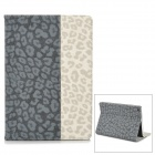 Stylish Leopard Pattern Joint-color Flip-open PU Leather Case w/ Auto Sleep + Holder for Ipad AIR