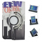 360 Degree Rotation PU Leather Case Cover Stand for Samsung Galaxy Tab 3 P5200 - White + Black