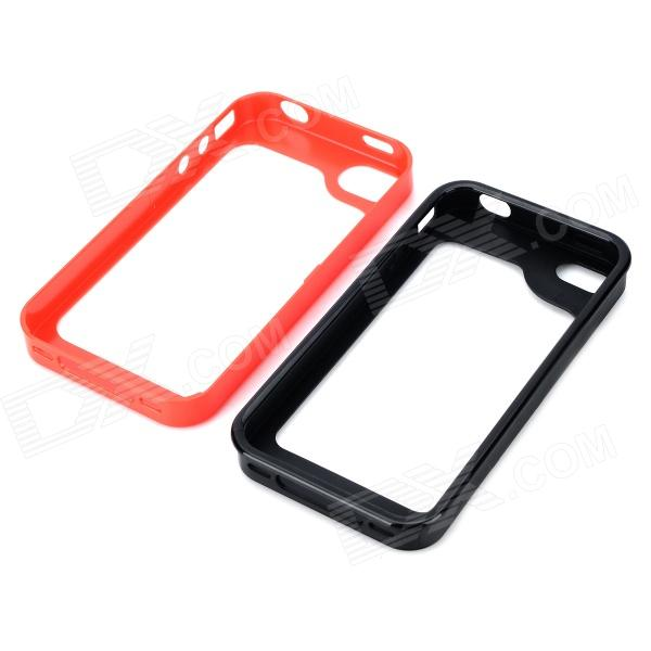 S-What Detachable Protective PC + Silicone Bumper Frame for Iphone 4 / 4s - Red + Black s what ultrathin protective aluminum alloy bumper frame for iphone 4 4s red