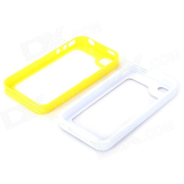 S-What Protective Detachable PC + Silicone Bumper Frame for Iphone 4 / 4s - White + Yellow
