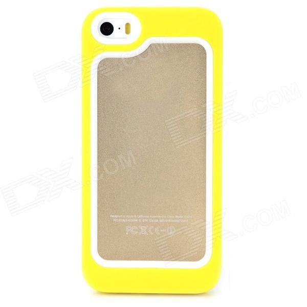 S-What Protective Detachable PC + Silicone Bumper Frame for Iphone 5 / 5s - White + Light Yellow