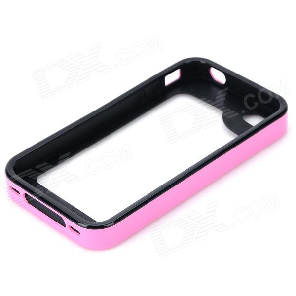 S-What Protective Detachable PC + Silicone Bumper Frame for Iphone 4 / 4s - Pink + Black stylish aluminum alloy protective bumper frame set for iphone 4 4s black red