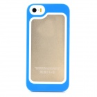 S-What Protective Detachable PC + Silicone Bumper Frame for Iphone 5 / 5s / 5c - White + Blue