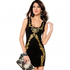 Sexy Fashion Casual Dress - Schwarz + Gold