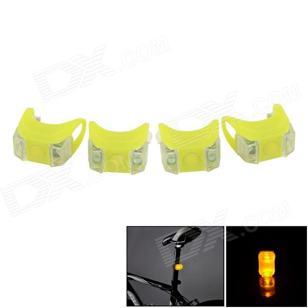 Bicycle LED Yellow Front / Taillight Warning Safety Light - Yellow (4 PCS / 2 x 2032) stud prototype expansion board red green black proto screw shield assembled