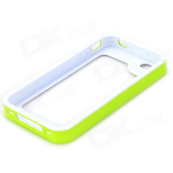 S-What Protective Detachable PC + Silicone Bumper Frame for Iphone 4 / 4s - White + Green