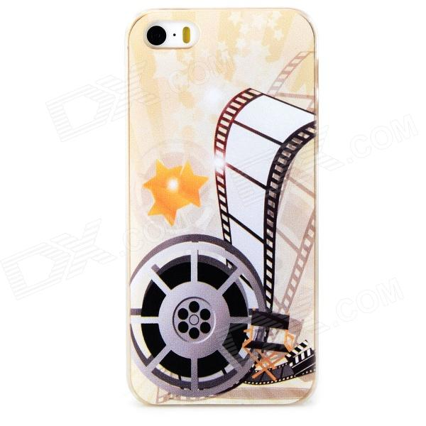 Film Pattern Protective PC Back Case for Iphone 5 / 5s - Transparent + White + Multicolored sokad es10 grid pattern protective pc abs back case for iphone 5 5s orchid