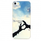 Heart Hands Pattern Protective PC Back Case for Iphone 5 / 5s - Transparent + Blue + Multicolored