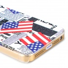 US Flag + Newspaper Pattern Protective PC Back Case for Iphone 5 / 5s - Transparent + Multicolored