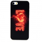 Flaming LOVE Letter Pattern Protective PC Back Case for Iphone 5 / 5s - Transparent + Black + Red