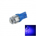 T10 / 194 / W5W 1W 100lm 5 x SMD 5050 LED Blue Car Side Light / Instrument / Reading Lamp - (12V)