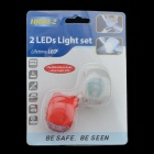 Silicone 2-LED 3-Mode Bike Light Set - White + Red (2 x 3V)