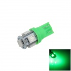 T10 / 194 / W5W 1W 100lm 5 x SMD 5050 LED Green Car Light Side / Instrumento / lámpara de lectura - (12V)