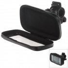 M01 360 Degree Rotation Bracket w/ PU Leather Waterproof Bag for Iphone 5 - Black