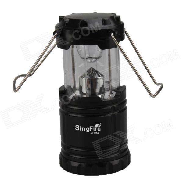 SingFire SF-806C 60lm 1-LED 1-Mode White Camping Lantern - Black (3 x AA)
