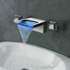 High Quality Split Type Chrome Finish Contemporary LED RGB Color Changing Bathroom Sink Faucet