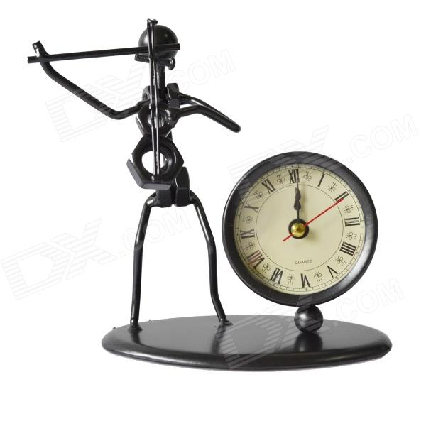 DEDO-Iron Art MG-214 Fashionable Violin Iron-Man Steel Art Desk Clock - Black (1 x AAA)
