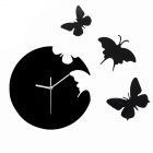 TM11015 Round Butterfly Wall Clock - Black (1 x AA)