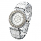 Haili Woman's Stylish Shiny Crystal Inlaid Analog Quartz Wristwatch - Silver (1 x SR626)