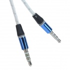 Translucent 3.5mm Male to Male Audio Connecting Cable - White + Blue (120cm)