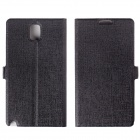 KPT-11 Slim Armour Pattern Protective PU Leather Case Cover Stand for Samsung Galaxy Note 3 - Black