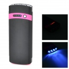 S-What Solar Powered 2600mAh Power Bank w/ Flashlight for Iphone / Ipod - Black + Deep Pink