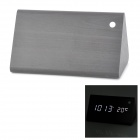 Triangle Style Voice Control Desktop Alarm Clock w/ LED Display - Black