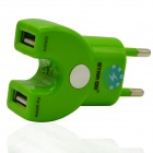 STAR GO ACP-12E Dual USB AC Power Adapter Charger - Green (EU Plug / 110~240V)