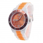 ICE 3ATM Rubber Band Dial Pointer Quartz Analog Wrist Watch - White + Orange (1 x LR626)