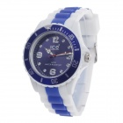 ICE 3ATM Rubber Band Dial Pointer Quartz Analog Wrist Watch - White + Deep Blue (1 x LR626)