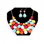 Bohemian Water-drop Pattern Beads Necklace + Earrings Set - Multicolored