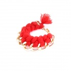Fashionable Knitting Wool Chain Pattern Bracelet - Golden + Red
