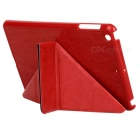 Multi-folding Protective PU Leather Case w/ Auto Sleep for Ipad MINI 1 / 2 - Red