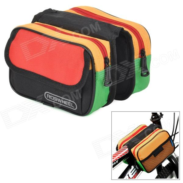 ROSWHEEL 12655 Convenient Durable 600D Dacron Top Tube Bag for Bicycle - Multicolored roswheel 12659 waterproof cycling bicycle pu top tube double storage bag black