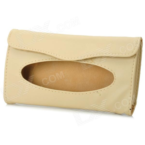 Car Visor PU Leather Tissue Box - Khaki