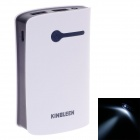 KINGLEEN QL-377 Stylish Universal 6600mAh Rechargeable Li-ion Power Bank Tube w/ LED - White + Black