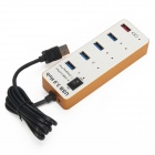 BYL-3011 5-Port USB Hub w/ 4-Port USB 3.0 + 1-Port USB 2.0 Charging - White + Golden